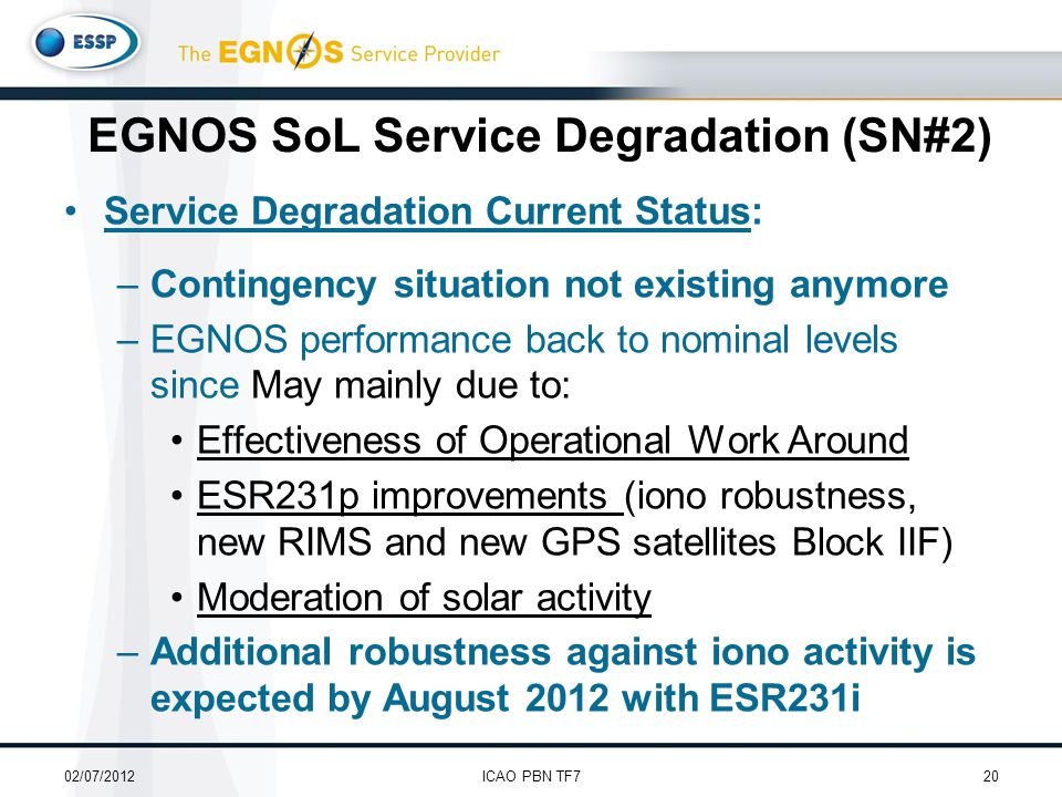 Service Degradation Current Status: –Contingency situation not existing anymore –EGNOS performance back to nominal levels since May mainly due to: Effectiveness of Operational Work Around ESR231p improvements (iono robustness, new RIMS and new GPS satellites Block IIF) Moderation of solar activity –Additional robustness against iono activity is expected by August 2012 with ESR231i 02/07/201220ICAO PBN TF7 EGNOS SoL Service Degradation (SN#2)