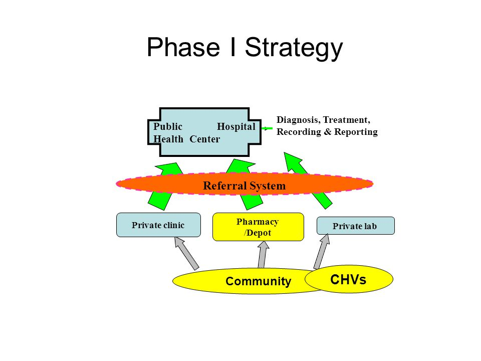 Phase I Strategy Private lab Community Private clinic Public Hospital Health Center Referral System Diagnosis, Treatment, Recording & Reporting Pharmacy /Depot CHVs
