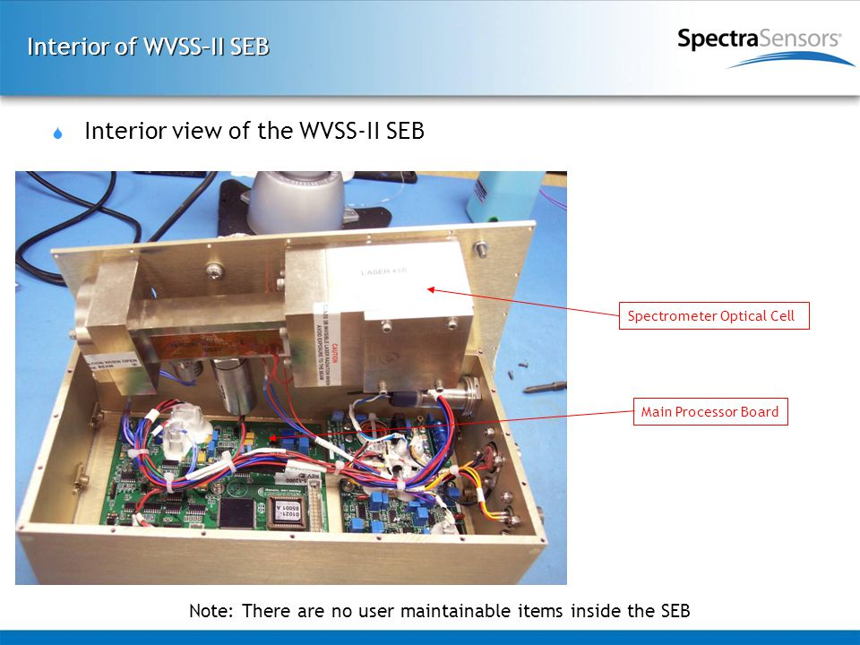 Interior of WVSS–II SEB  Interior view of the WVSS-II SEB Spectrometer Optical Cell Main Processor Board Note: There are no user maintainable items inside the SEB