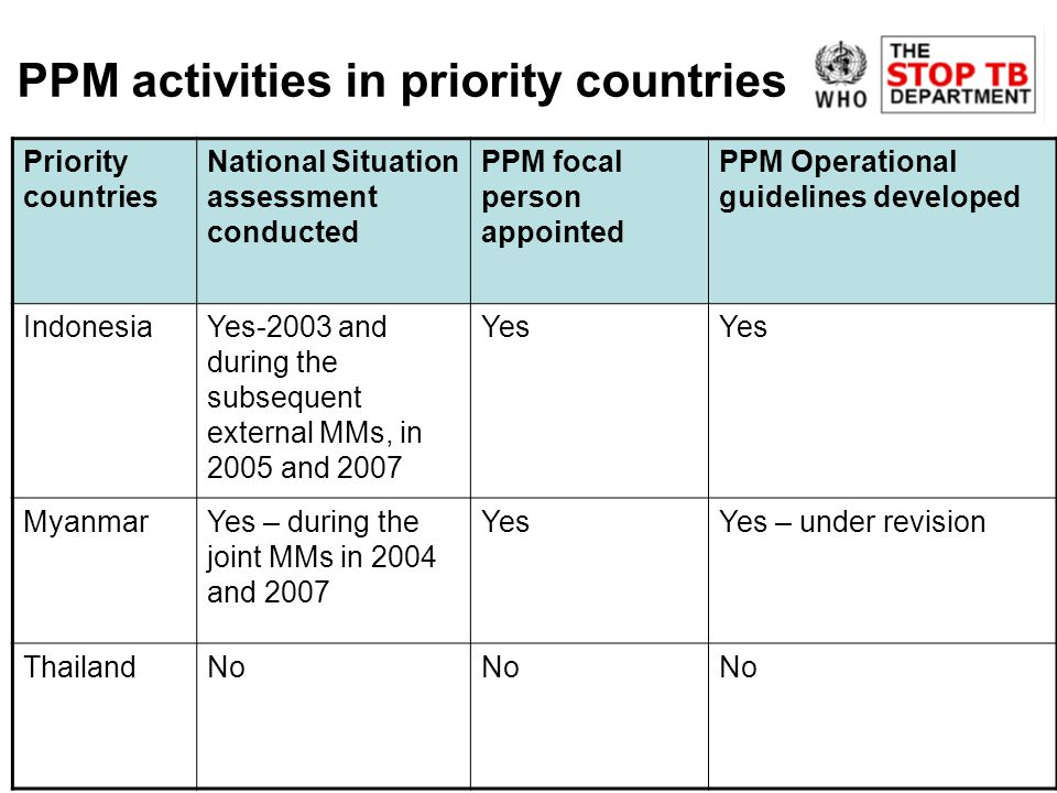 PPM activities in priority countries Priority countries National Situation assessment conducted PPM focal person appointed PPM Operational guidelines developed IndonesiaYes-2003 and during the subsequent external MMs, in 2005 and 2007 Yes MyanmarYes – during the joint MMs in 2004 and 2007 YesYes – under revision ThailandNo