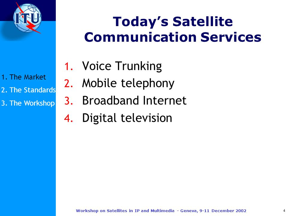 4 Workshop on Satellites in IP and Multimedia - Geneva, 9-11 December 2002 Today's Satellite Communication Services 1.