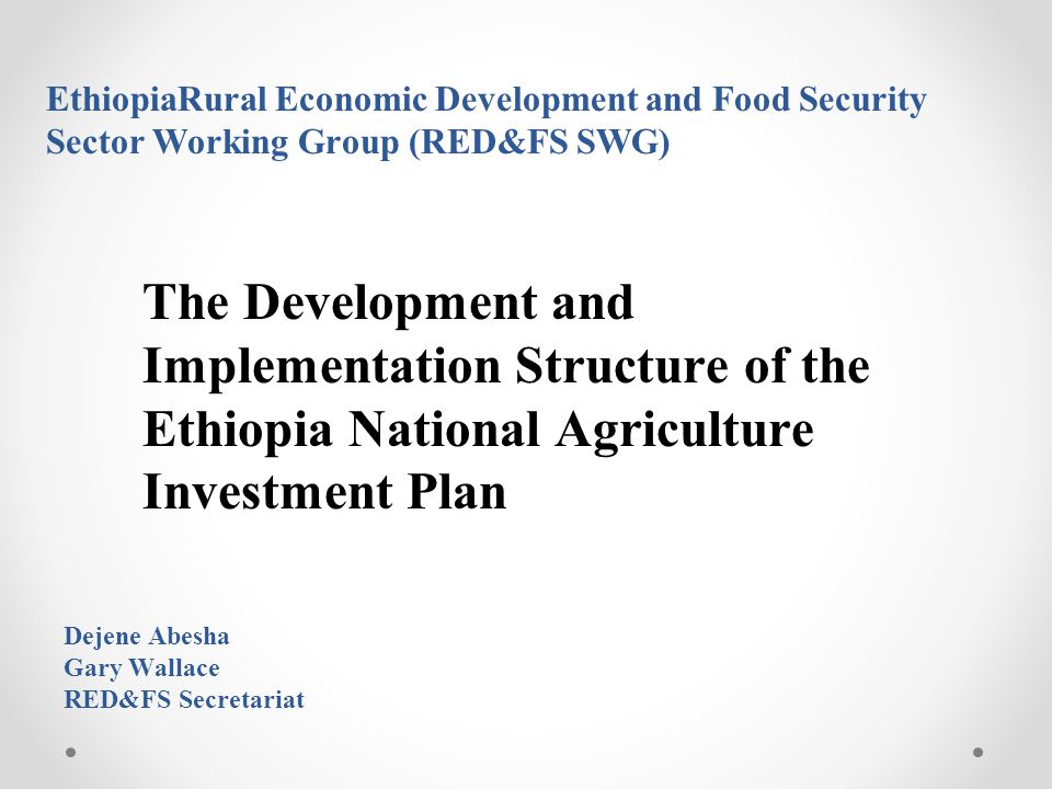 EthiopiaRural Economic Development and Food Security Sector Working Group (RED&FS SWG) The Development and Implementation Structure of the Ethiopia National Agriculture Investment Plan Dejene Abesha Gary Wallace RED&FS Secretariat