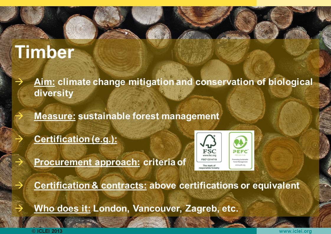 © ICLEI 2013 www.iclei.org Timber  Aim: climate change mitigation and conservation of biological diversity  Measure: sustainable forest management  Certification (e.g.):  Procurement approach: criteria of  Certification & contracts: above certifications or equivalent  Who does it: London, Vancouver, Zagreb, etc.