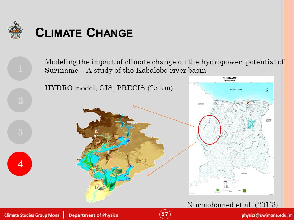 27 Modeling the impact of climate change on the hydropower potential of Suriname – A study of the Kabalebo river basin HYDRO model, GIS, PRECIS (25 km) C LIMATE C HANGE 1 4 2 3 Nurmohamed et al.