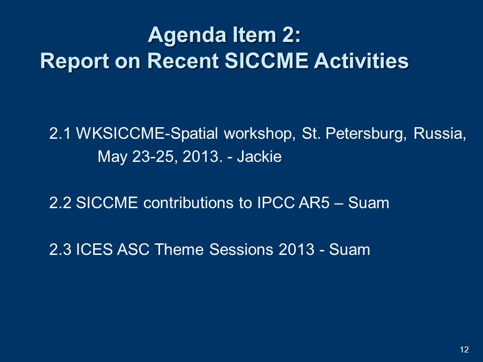 12 Agenda Item 2: Report on Recent SICCME Activities 2.1 WKSICCME-Spatial workshop, St.