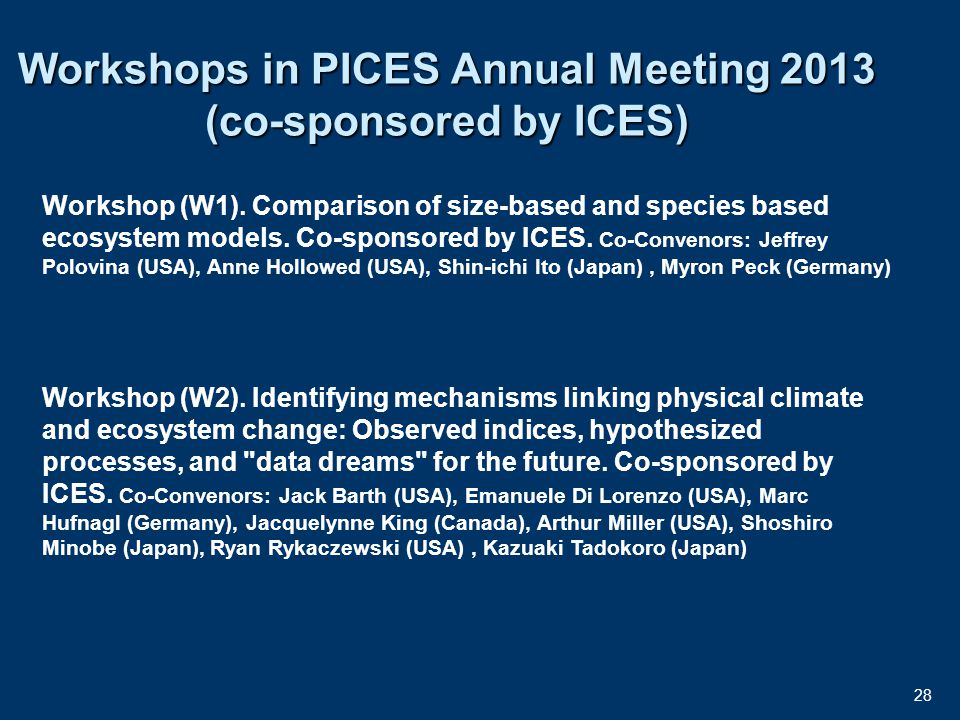 28 Workshops in PICES Annual Meeting 2013 (co-sponsored by ICES) Workshop (W1).