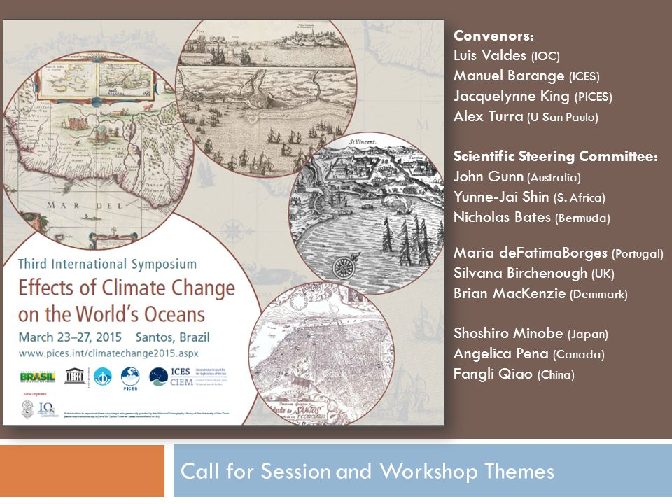 Call for Session and Workshop Themes Convenors: Luis Valdes (IOC) Manuel Barange (ICES) Jacquelynne King (PICES) Alex Turra (U San Paulo) Scientific Steering Committee: John Gunn (Australia) Yunne-Jai Shin (S.