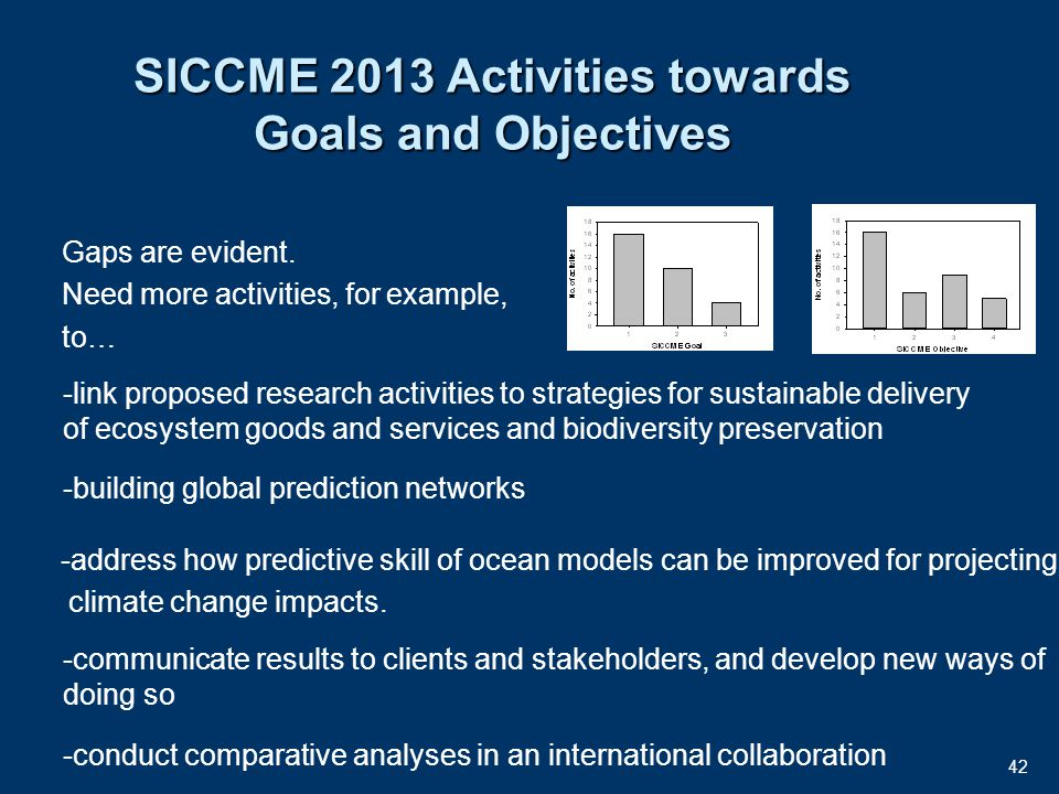 42 SICCME 2013 Activities towards Goals and Objectives Gaps are evident.