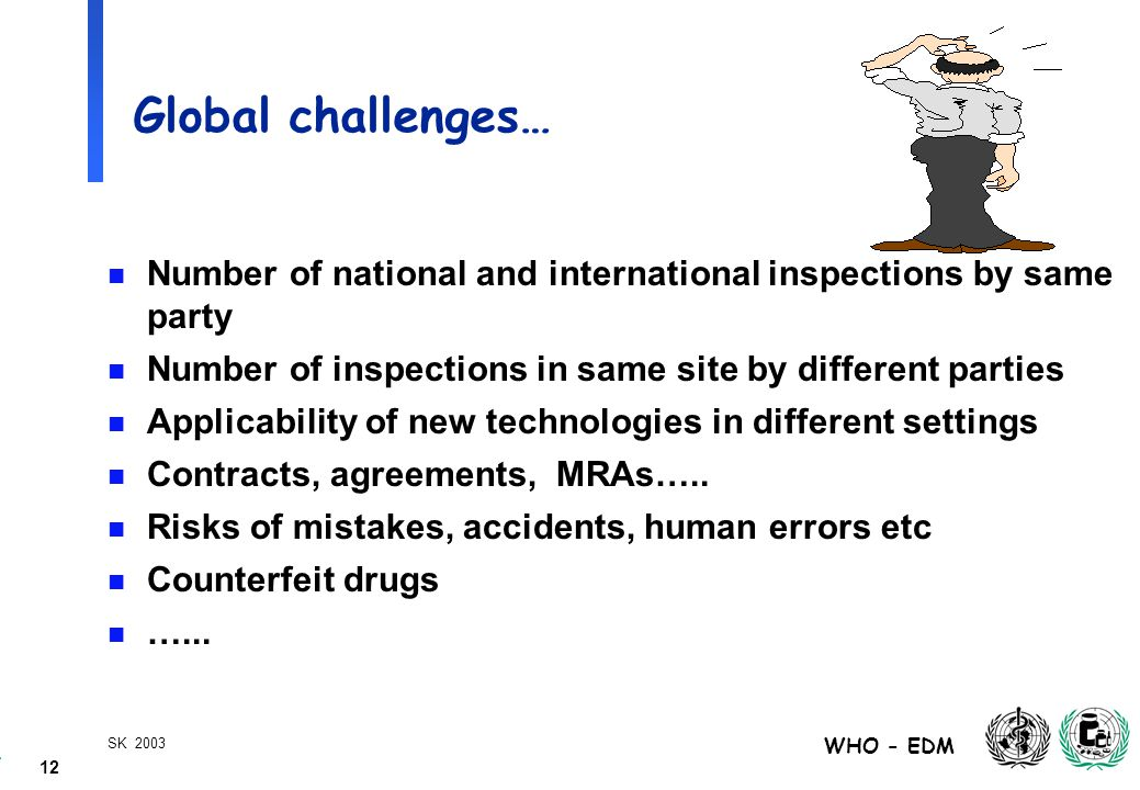 12 WHO - EDM SK 2003 Global challenges… n Number of national and international inspections by same party n Number of inspections in same site by different parties n Applicability of new technologies in different settings n Contracts, agreements, MRAs…..