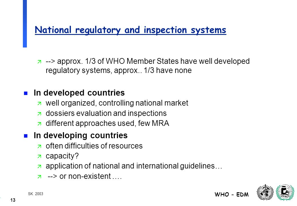13 WHO - EDM SK 2003 National regulatory and inspection systems ä --> approx.