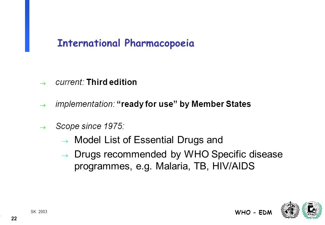 22 WHO - EDM SK 2003 International Pharmacopoeia  current: Third edition  implementation: ready for use by Member States  Scope since 1975:  Model List of Essential Drugs and  Drugs recommended by WHO Specific disease programmes, e.g.
