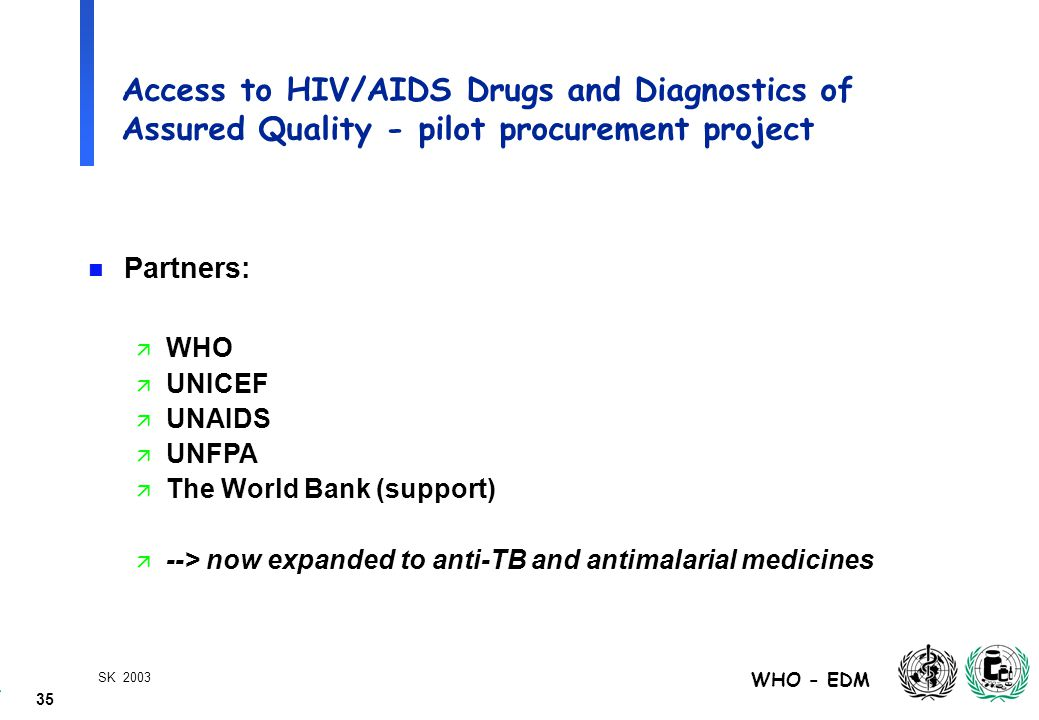 35 WHO - EDM SK 2003 Access to HIV/AIDS Drugs and Diagnostics of Assured Quality - pilot procurement project n Partners: ä WHO ä UNICEF ä UNAIDS ä UNFPA ä The World Bank (support) ä --> now expanded to anti-TB and antimalarial medicines