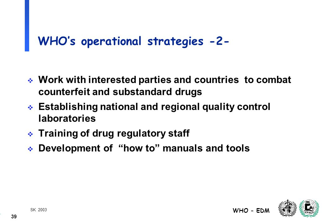 39 WHO - EDM SK 2003 WHO's operational strategies -2-  Work with interested parties and countries to combat counterfeit and substandard drugs  Establishing national and regional quality control laboratories  Training of drug regulatory staff  Development of how to manuals and tools