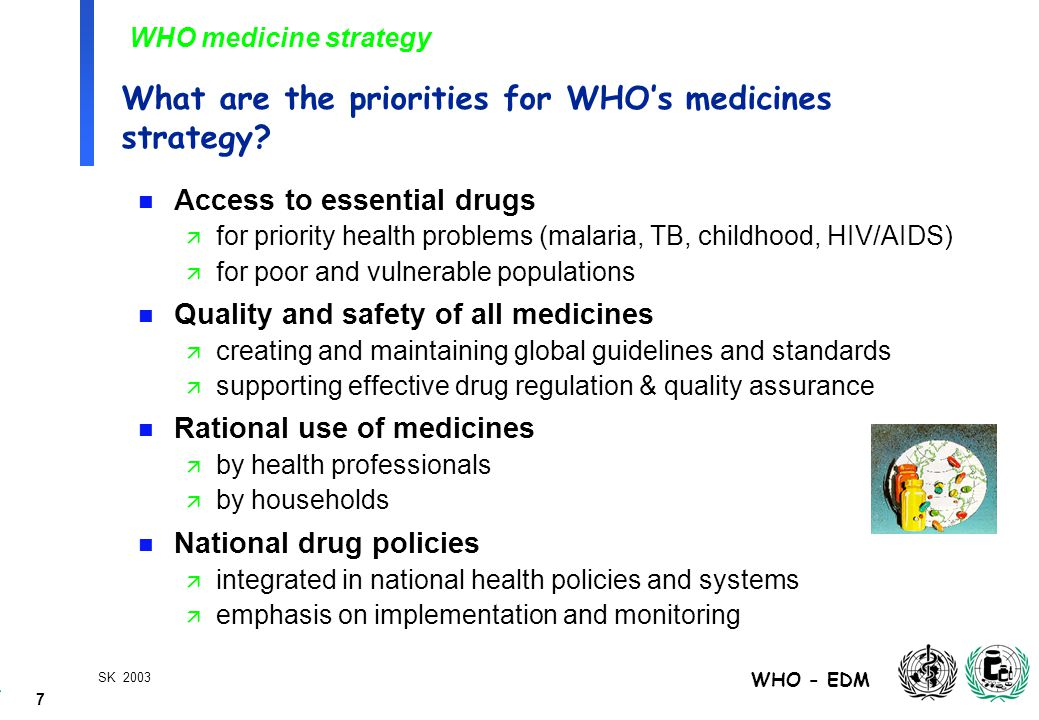 7 WHO - EDM SK 2003 What are the priorities for WHO's medicines strategy.