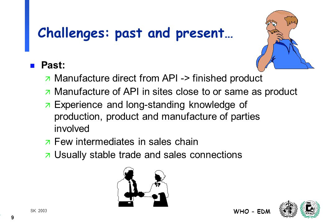 9 WHO - EDM SK 2003 Challenges: past and present… n Past: ä Manufacture direct from API -> finished product ä Manufacture of API in sites close to or same as product ä Experience and long-standing knowledge of production, product and manufacture of parties involved ä Few intermediates in sales chain ä Usually stable trade and sales connections