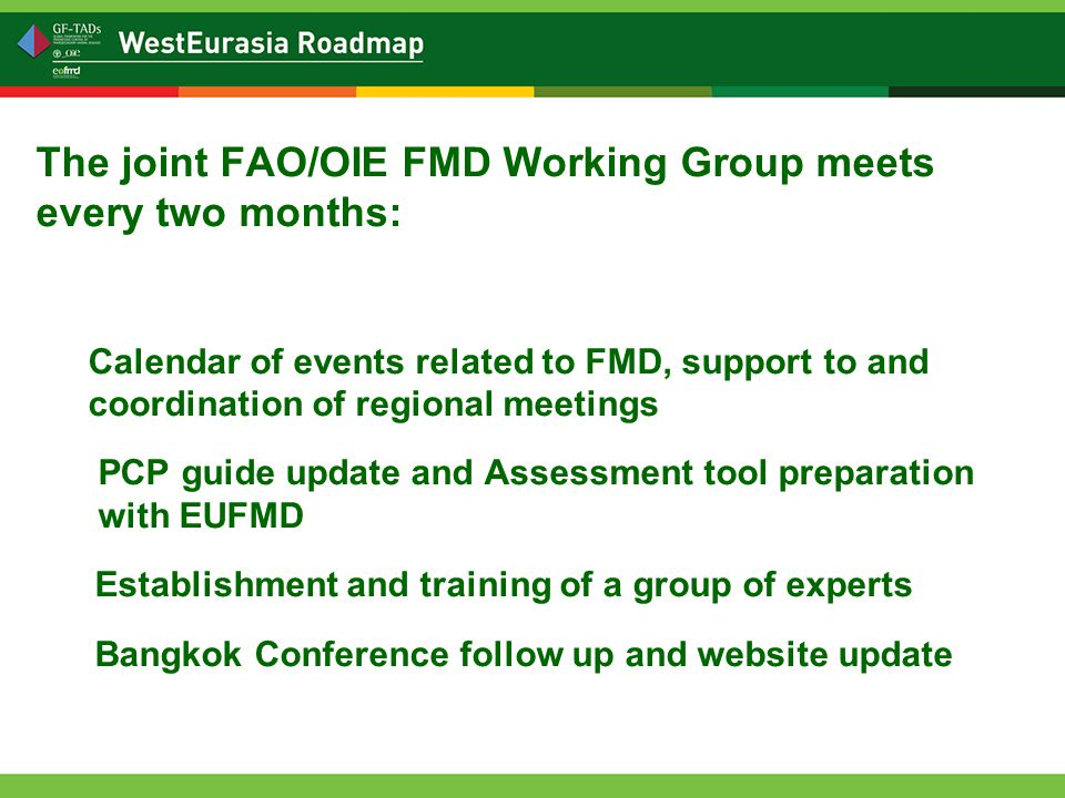 The joint FAO/OIE FMD Working Group meets every two months: Calendar of events related to FMD, support to and coordination of regional meetings PCP guide update and Assessment tool preparation with EUFMD Establishment and training of a group of experts Bangkok Conference follow up and website update
