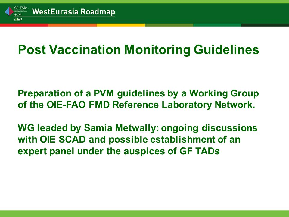 Post Vaccination Monitoring Guidelines Preparation of a PVM guidelines by a Working Group of the OIE-FAO FMD Reference Laboratory Network.