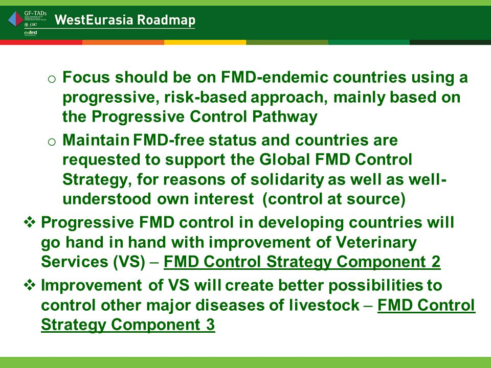 o Focus should be on FMD-endemic countries using a progressive, risk-based approach, mainly based on the Progressive Control Pathway o Maintain FMD-free status and countries are requested to support the Global FMD Control Strategy, for reasons of solidarity as well as well- understood own interest (control at source)  Progressive FMD control in developing countries will go hand in hand with improvement of Veterinary Services (VS) – FMD Control Strategy Component 2  Improvement of VS will create better possibilities to control other major diseases of livestock – FMD Control Strategy Component 3