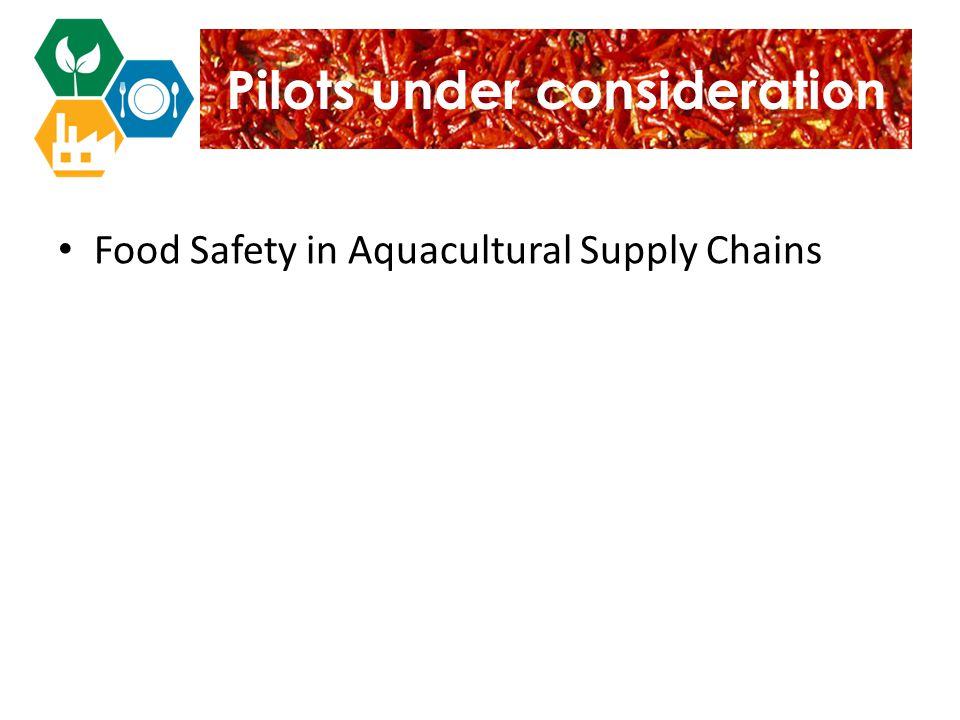Pilots under consideration Food Safety in Aquacultural Supply Chains