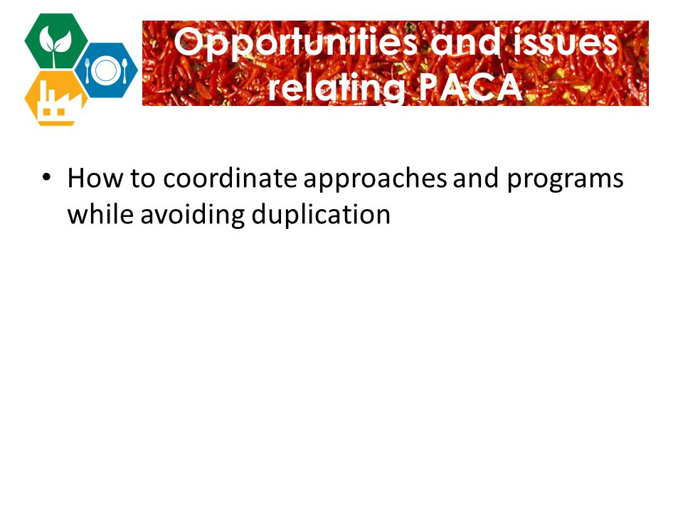 Opportunities and issues relating PACA How to coordinate approaches and programs while avoiding duplication