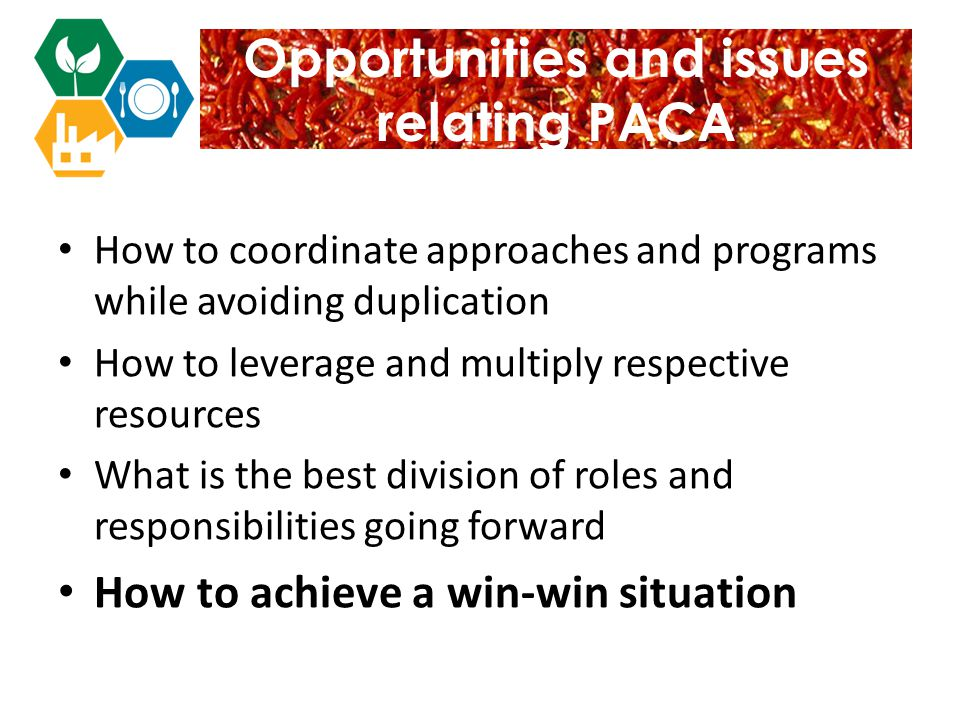 Opportunities and issues relating PACA How to coordinate approaches and programs while avoiding duplication How to leverage and multiply respective resources What is the best division of roles and responsibilities going forward How to achieve a win-win situation