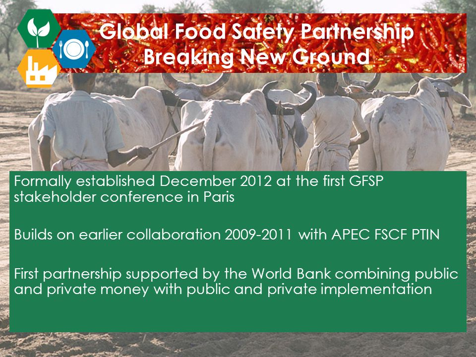 Global Food Safety Partnership Breaking New Ground Formally established December 2012 at the first GFSP stakeholder conference in Paris Builds on earlier collaboration 2009-2011 with APEC FSCF PTIN First partnership supported by the World Bank combining public and private money with public and private implementation