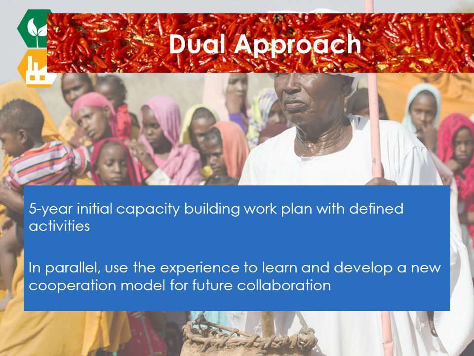 5-year initial capacity building work plan with defined activities In parallel, use the experience to learn and develop a new cooperation model for future collaboration Dual Approach