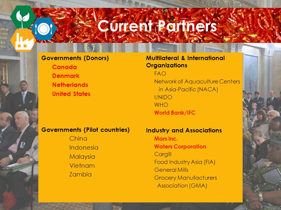 Governments (Donors) Canada Denmark Netherlands United States Governments (Pilot countries) China Indonesia Malaysia Vietnam Zambia Multilateral & International Organizations FAO Network of Aquaculture Centers in Asia-Pacific (NACA) UNIDO WHO World Bank/IFC Industry and Associations Mars Inc.