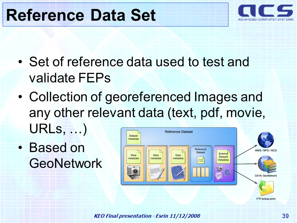 KEO Final presentation - Esrin 11/12/2008 39 Reference Data Set Set of reference data used to test and validate FEPs Collection of georeferenced Images and any other relevant data (text, pdf, movie, URLs, …) Based on GeoNetwork