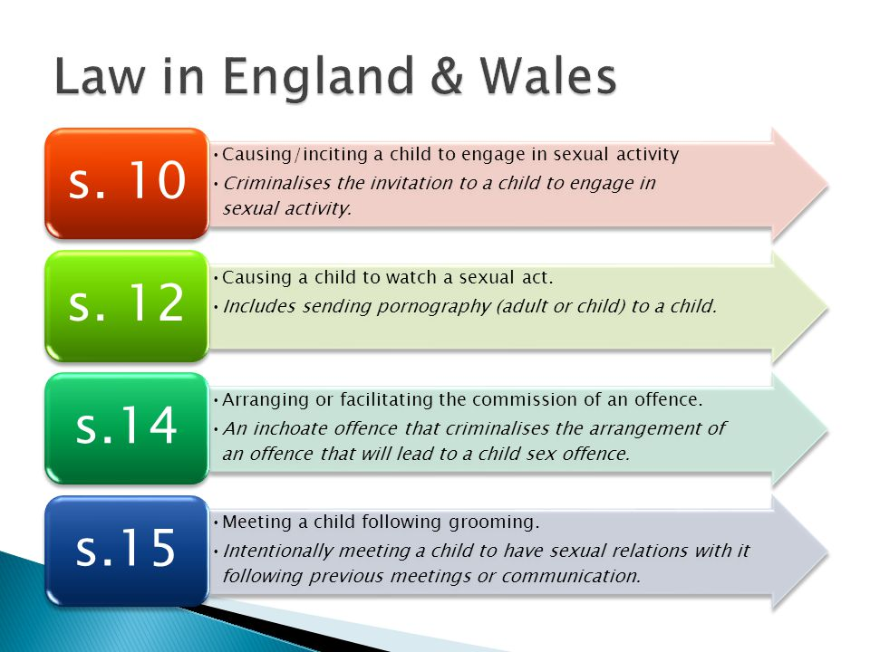 Causing/inciting a child to engage in sexual activity Criminalises the invitation to a child to engage in sexual activity.