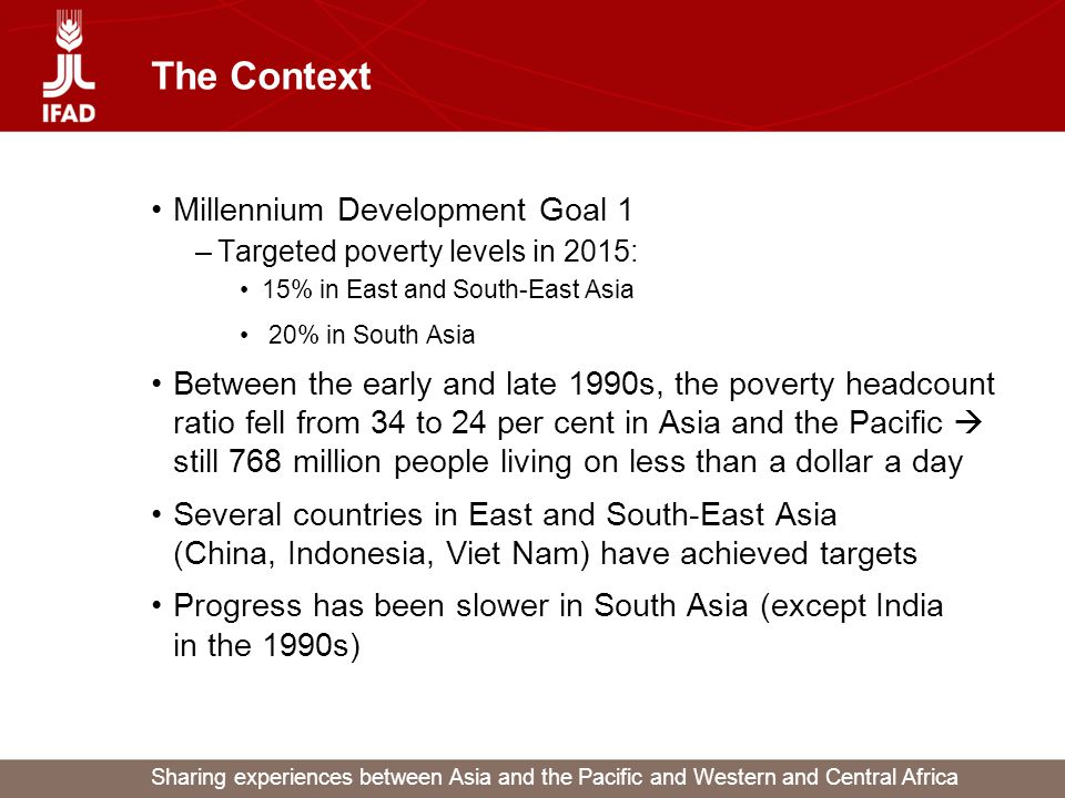 Sharing experiences between Asia and the Pacific and Western and Central Africa The Context Millennium Development Goal 1 –Targeted poverty levels in 2015: 15% in East and South-East Asia 20% in South Asia Between the early and late 1990s, the poverty headcount ratio fell from 34 to 24 per cent in Asia and the Pacific  still 768 million people living on less than a dollar a day Several countries in East and South-East Asia (China, Indonesia, Viet Nam) have achieved targets Progress has been slower in South Asia (except India in the 1990s)