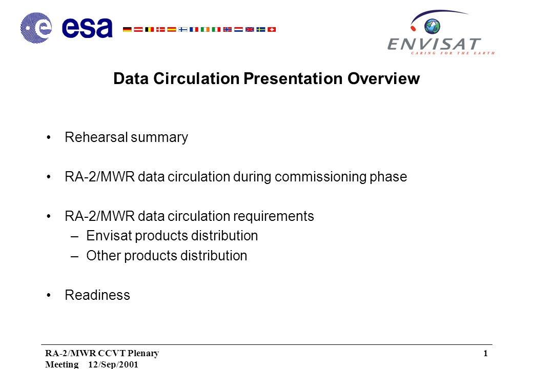 RA-2/MWR CCVT Plenary Meeting 12/Sep/2001 1 Data Circulation Presentation Overview Rehearsal summary RA-2/MWR data circulation during commissioning phase RA-2/MWR data circulation requirements –Envisat products distribution –Other products distribution Readiness