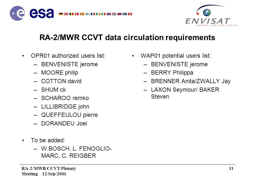 RA-2/MWR CCVT Plenary Meeting 12/Sep/2001 11 RA-2/MWR CCVT data circulation requirements OPR01 authorized users list: –BENVENISTE jerome –MOORE philip –COTTON david –SHUM ck –SCHAROO remko –LILLIBRIDGE john –QUEFFEULOU pierre –DORANDEU Joel To be added: –W.BOSCH, L.
