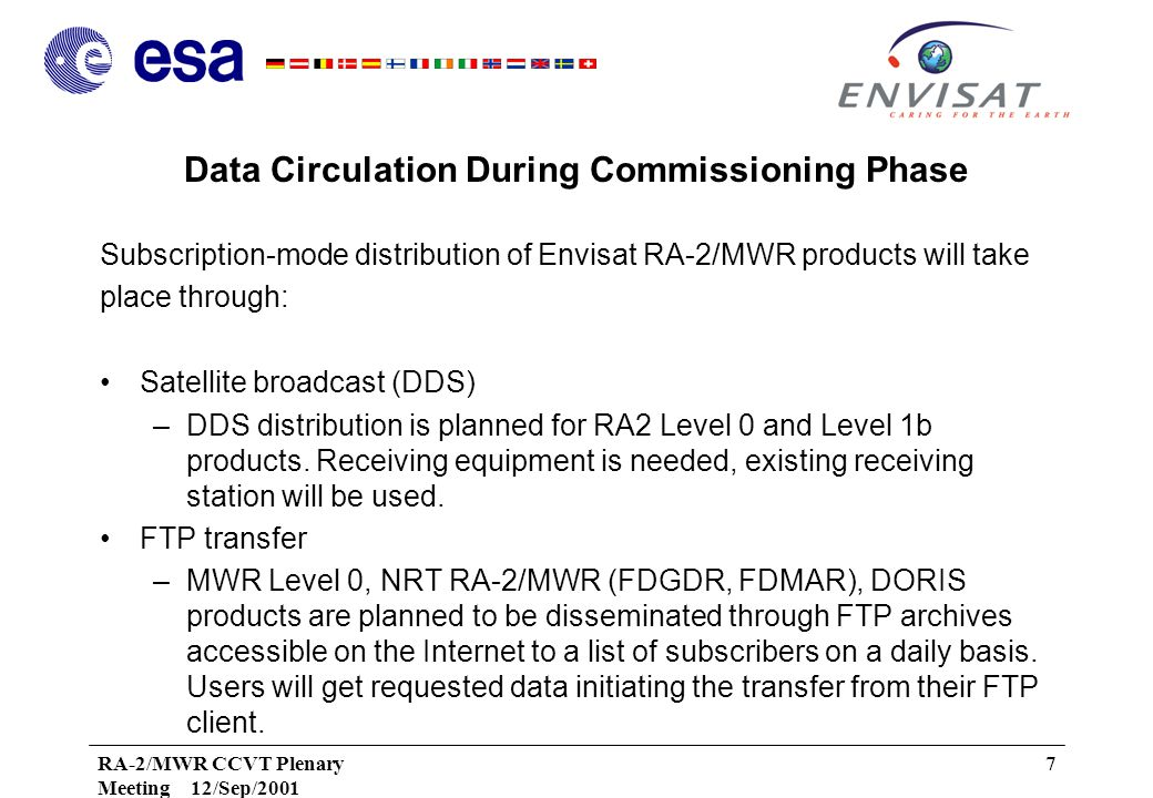 RA-2/MWR CCVT Plenary Meeting 12/Sep/2001 7 Data Circulation During Commissioning Phase Subscription-mode distribution of Envisat RA-2/MWR products will take place through: Satellite broadcast (DDS) –DDS distribution is planned for RA2 Level 0 and Level 1b products.