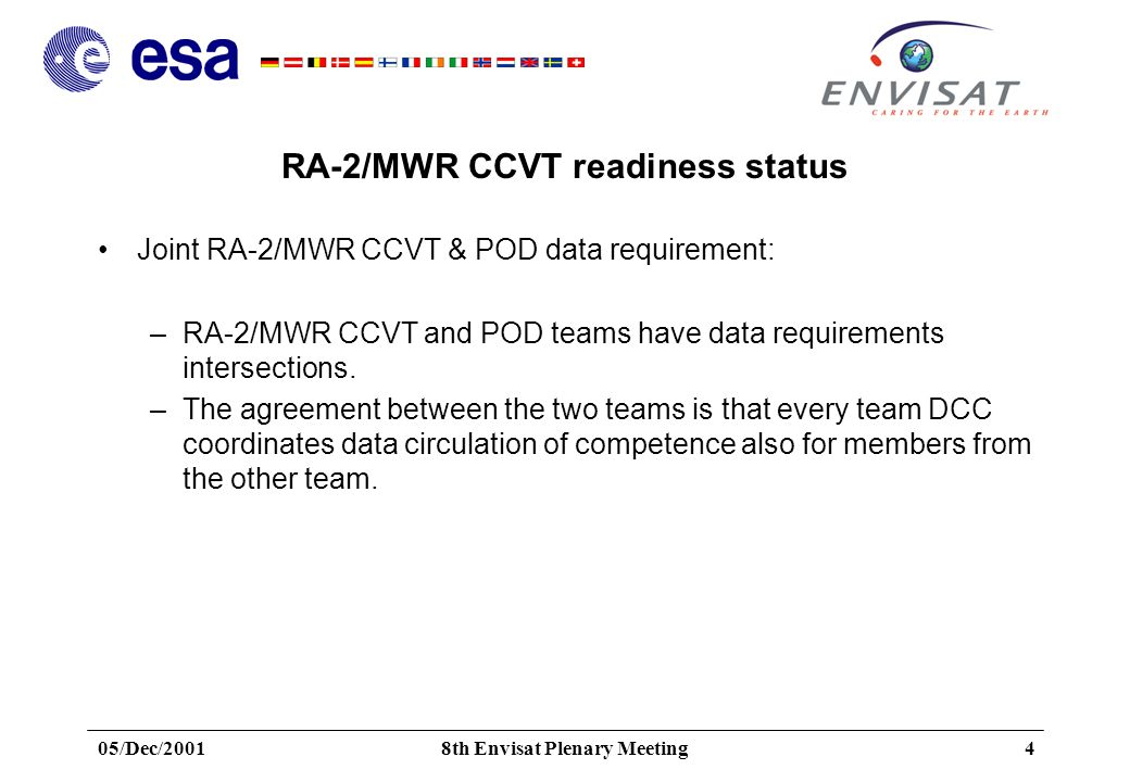 05/Dec/20018th Envisat Plenary Meeting4 RA-2/MWR CCVT readiness status Joint RA-2/MWR CCVT & POD data requirement: –RA-2/MWR CCVT and POD teams have data requirements intersections.