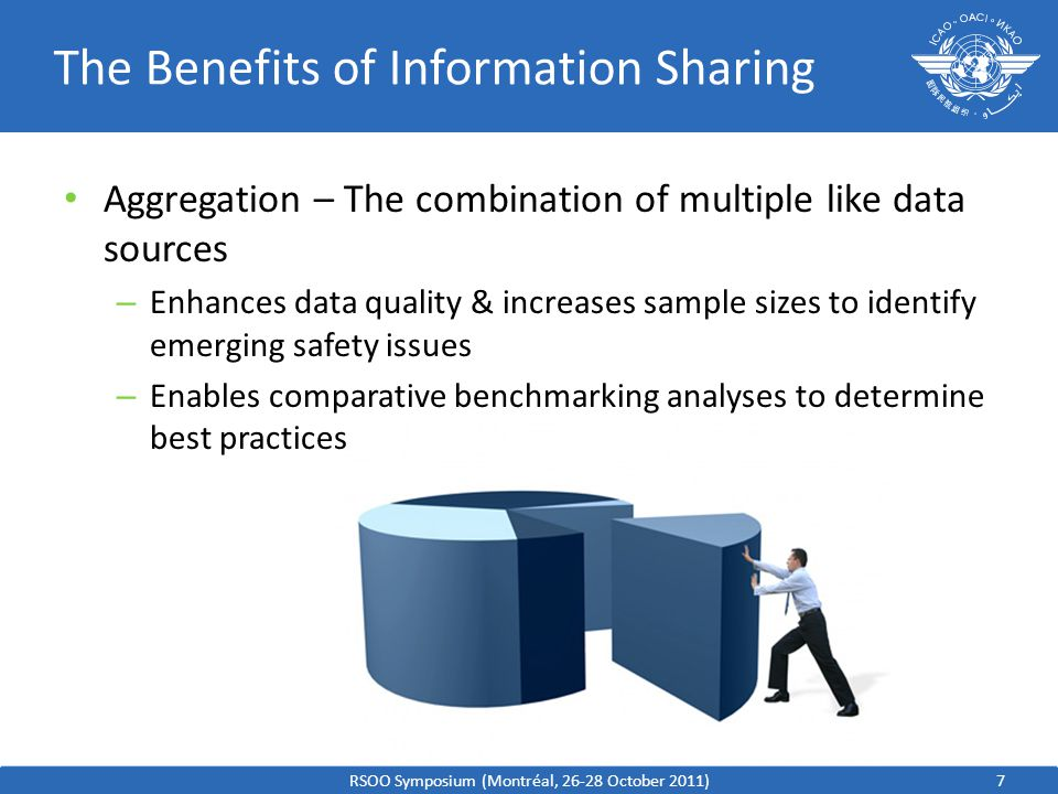7 The Benefits of Information Sharing Aggregation – The combination of multiple like data sources – Enhances data quality & increases sample sizes to identify emerging safety issues – Enables comparative benchmarking analyses to determine best practices RSOO Symposium (Montréal, 26-28 October 2011)