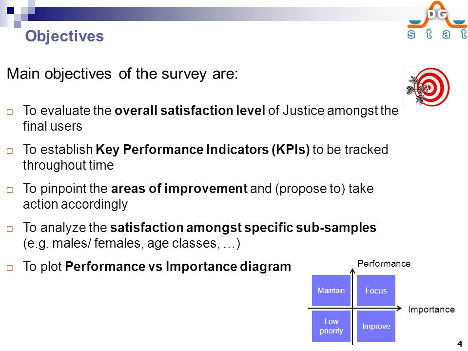 Objectives Main objectives of the survey are:  To evaluate the overall satisfaction level of Justice amongst the final users  To establish Key Performance Indicators (KPIs) to be tracked throughout time  To pinpoint the areas of improvement and (propose to) take action accordingly  To analyze the satisfaction amongst specific sub-samples (e.g.