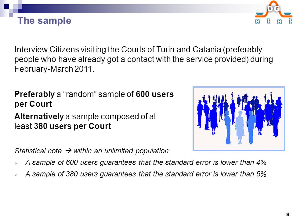 The sample Interview Citizens visiting the Courts of Turin and Catania (preferably people who have already got a contact with the service provided) during February-March 2011.