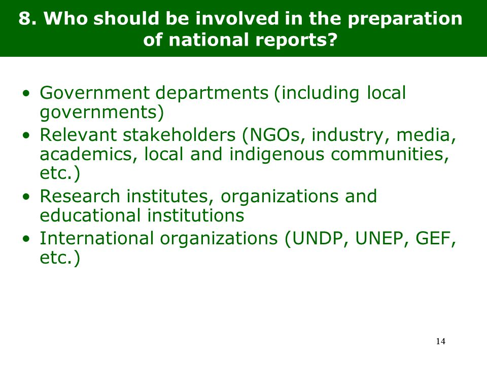14 8. Who should be involved in the preparation of national reports.