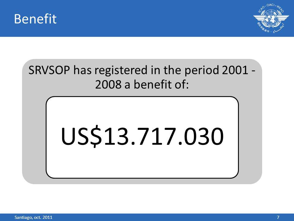 Benefit SRVSOP has registered in the period 2001 - 2008 a benefit of: US$13.717.030 7Santiago, oct.