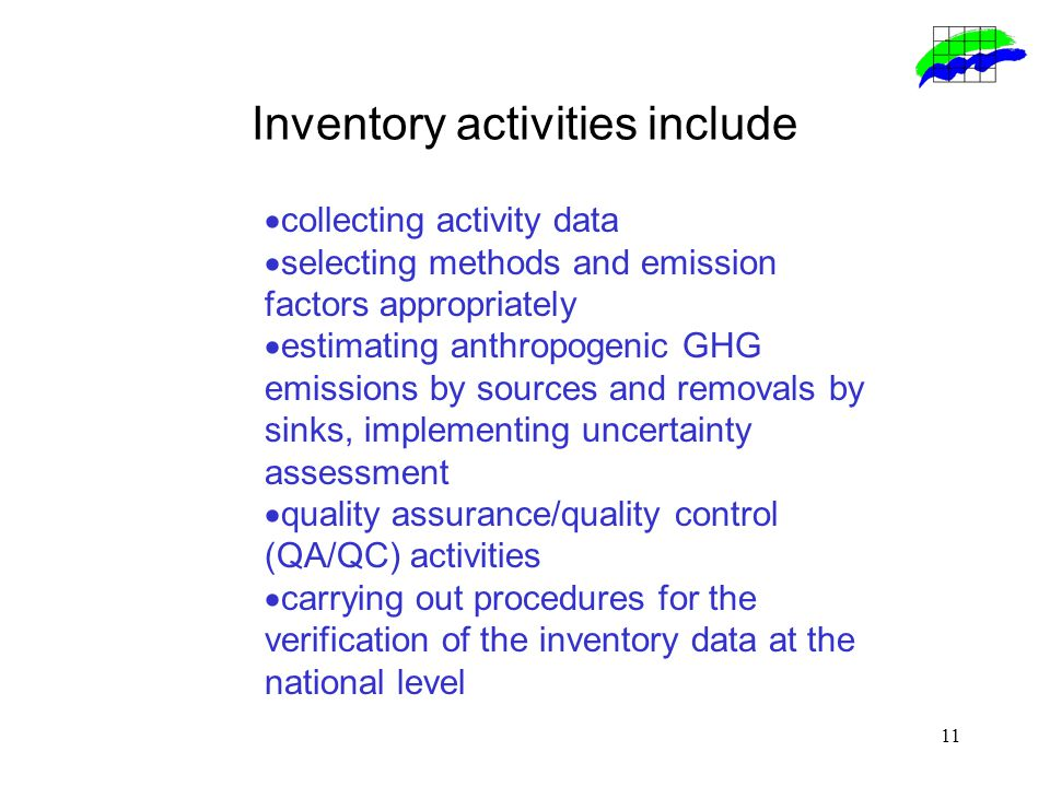 11 Inventory activities include  collecting activity data  selecting methods and emission factors appropriately  estimating anthropogenic GHG emissions by sources and removals by sinks, implementing uncertainty assessment  quality assurance/quality control (QA/QC) activities  carrying out procedures for the verification of the inventory data at the national level