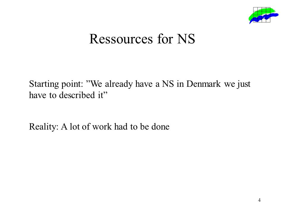 4 Ressources for NS Starting point: We already have a NS in Denmark we just have to described it Reality: A lot of work had to be done