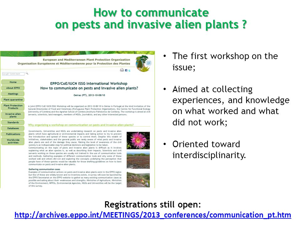 How to communicate on pests and invasive alien plants .