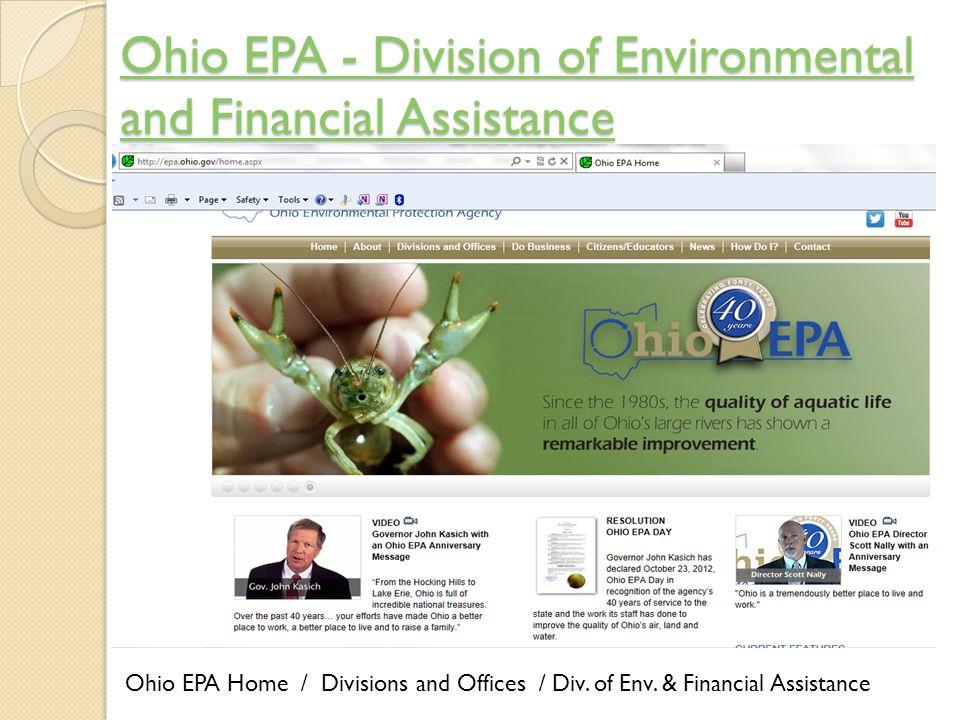 Ohio EPA - Division of Environmental and Financial Assistance Ohio EPA - Division of Environmental and Financial Assistance Ohio EPA Home / Divisions and Offices / Div.