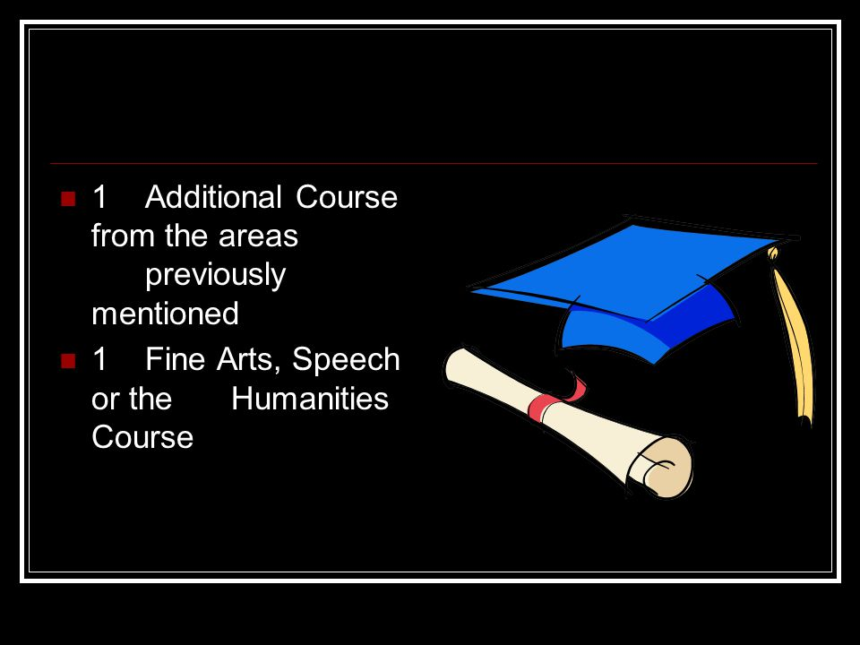 1 Additional Course from the areas previously mentioned 1Fine Arts, Speech or the Humanities Course