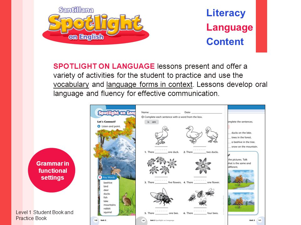 SPOTLIGHT ON LANGUAGE lessons present and offer a variety of activities for the student to practice and use the vocabulary and language forms in context.