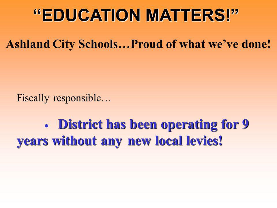 District has been operating for 9 years without any new local levies.