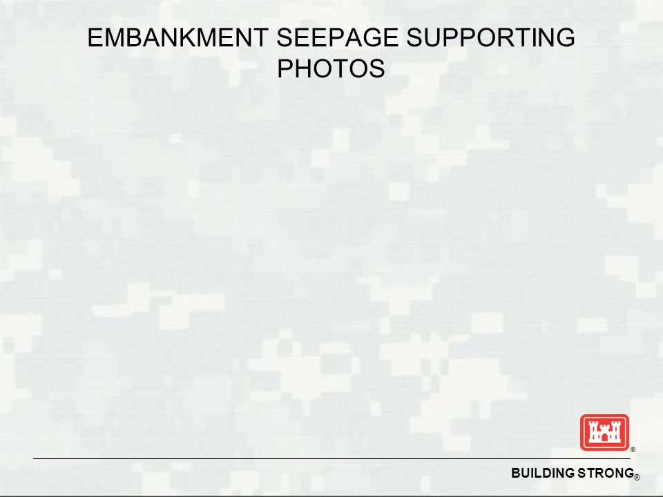 BUILDING STRONG ® EMBANKMENT SEEPAGE SUPPORTING PHOTOS
