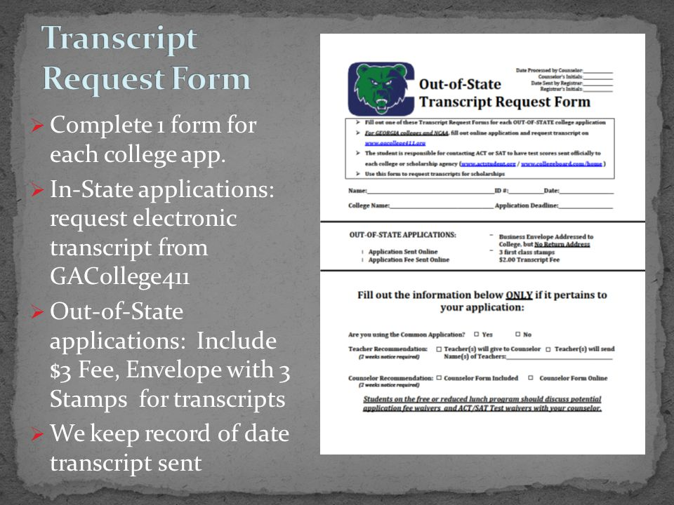  Complete 1 form for each college app.