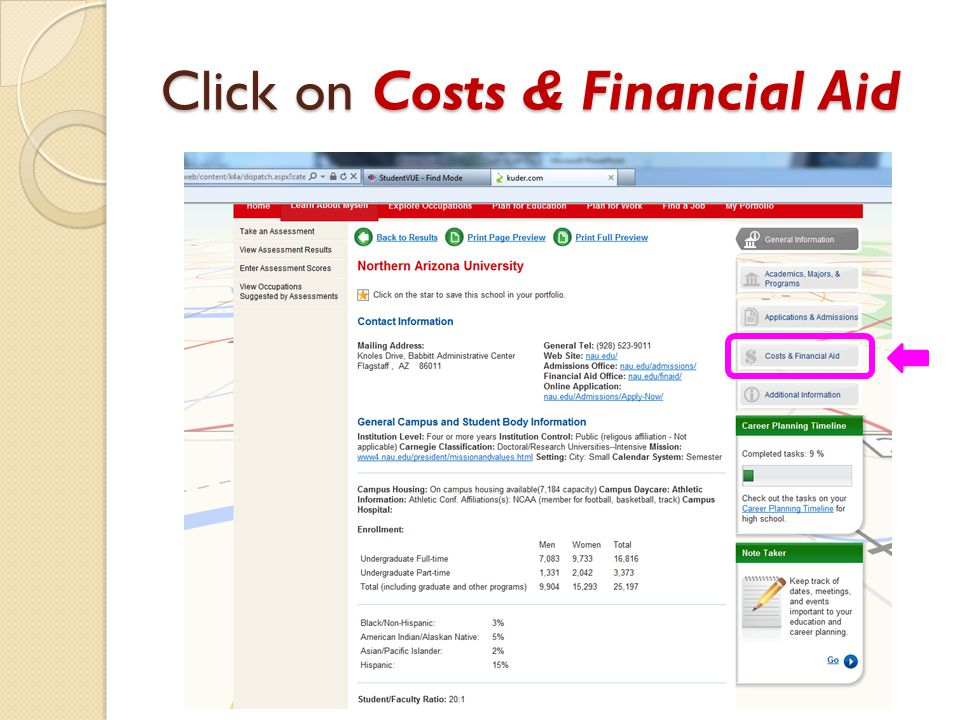 Click on Costs & Financial Aid